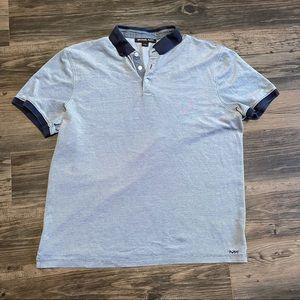 Michael Kors Navy Gray Short Sleeve Polo Shirt